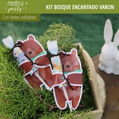 Bosque Encantado Varones Kit Completo - Printing a Party Woodland Party, Amelie, Christmas Ornaments, Holiday Decor, Chocolates, Baby Shower, Fox Party, Ideas, Parties