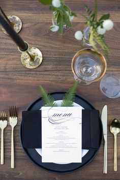 Black place settings and gold flatware: http://www.stylemepretty.com/living/2016/11/11/a-moody-and-glamorous-fall-dinner-party-under-the-stars/ Photography: Carla Choy - http://www.carlachoyphoto.com/