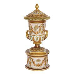 "A fine minature parcel gilt Wedgwood porcelain vase and cover Ca1875 England. 7.87""H."