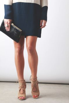 Outfit details: Heidi Merrick dress (another color here) Nude Wedges, Nude Heels, Cute Shoes, Me Too Shoes, Photoshoot Inspiration, Style Inspiration, Vintage Clutch, Bold Stripes, Colorblock Dress