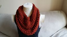 Chunky Spice Red Knitted Cowl Infinity by KnotsandBowsBoutique, $30.00