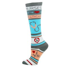 Nurses Are The Heart OF Healthcare Womens Compression Socks for Nurses Size 9-11