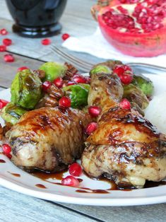 pomegranate glazed chicken drumsticks and brussels sprouts pomegranate ...