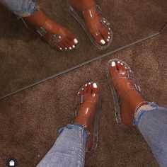 🔥New🔥Clarity Clear Sandals. All sizes available Sandals Outfit, Cute Sandals, Shoes Sandals, Strappy Sandals, Lace Heels, Flats, Pretty Shoes, Cute Shoes, Me Too Shoes