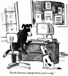 """On the Internet, nobody knows you're a dog - Wikipedia, the free encyclopedia [Cartoon from """"The New Yorker""""]"""