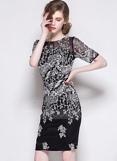 Above Knee Round Neck Polyester 100%Polyester Embroidery Short Sleeves Fashion Dresses