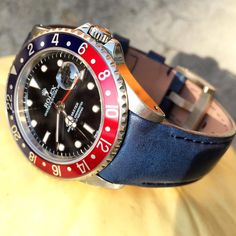 """""""GMT Master lovers need a little blue to make them happy. Here is our Everest Curved End Leather series in Blue on a #pepsi dial Rolex GMT. Learn more at…"""""""