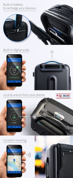 """A carry-on suitcase that you can control from your phone (""""like a boss""""). It basically does everything but carry itself. Someday... someday."""