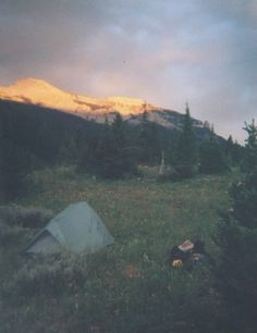Let's go camping!  Sunset on Granite Creek, Gros Ventre Wilderness, Aug 2002