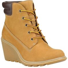 Timberland Amston Leather Lug Ankle Boots ($130) ❤ liked on Polyvore featuring shoes, boots, ankle booties, camel, wedge boots, wedge booties, leather wedge boots, lace up booties and wedge bootie