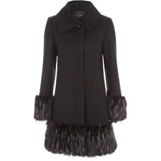 Jane Norman Black Fur Cuff & Hem Coat (45.105 HUF) ❤ liked on Polyvore featuring outerwear, coats, black, women, jane norman and fur coat