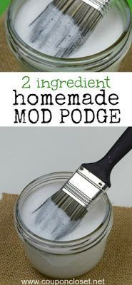 How to make Homemade Mod Podge! Awesome!!! So easy and cheap!!! glue and water!! #modpodge