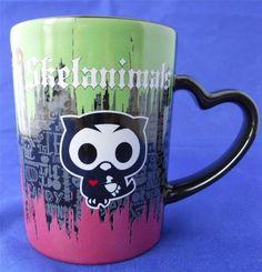 Skelanimals Oliver Owl w Red Heart Gothic Coffee Mug Heart Handle 2009