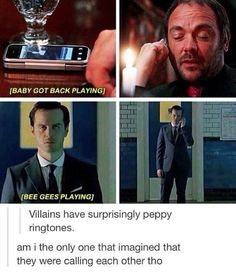 Supernatural and sherlock.i just found a link between my two favorite shows lol Johnlock, Destiel, Virginia Woolf, Detective, Mrs Hudson, Fandom Crossover, Harry Potter, Supernatural Fandom, Crowley Spn