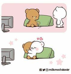 Cute Couple Comics, Cute Couple Cartoon, Cute Couple Art, Cute Love Cartoons, Cute Comics, Cute Bear Drawings, Cute Cartoon Drawings, Cute Love Pictures, Cute Love Gif