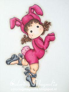 Coloring Magnolia Stamp 2013 Little Easter Collection - Ballerina Bunny Tilda  Copics:    Haar: E49- E47-E25  Huid: E13-E11-E00-E000-RV11  Kleding: RV69-RV19-RV17-RV09-RV55-0  Balletschoentjes: C9-C7-C5-C3  Achtergrond schaduw: W3-W1-W00