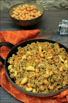 Spicy rice with chickpeas, cashews and grilled onions ~ Happy taste buds - cuisine - Raw Food Recipes Raw Food Recipes, Meat Recipes, Asian Recipes, Vegetarian Recipes, Dinner Recipes, Cooking Recipes, Healthy Recipes, Food Tips, Vegetarian Sweets