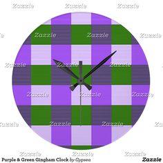 Purple & Green Gingham Clock
