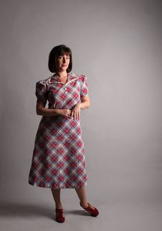 Vintage 1930s Dress  Plaid 30s Dress  Dustbowl by concettascloset, $138.00