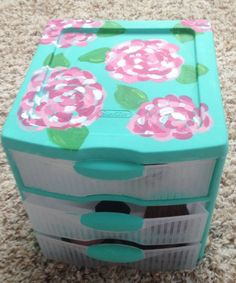Lilly pulitzer inspired storage drawers by Preppypiecesforyou, $20.00