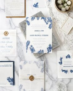 """Absolutely gorgeous blue and lavender fern wedding invitations with gold details from #designerrolodex member @elliesnow (#hellotenfold) - on OSBP today!…"""