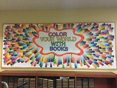 Awesome display literacy bulletin boards, world bulletin board, colorful bu Classroom Bulliten Board Ideas, World Bulletin Board, Literacy Bulletin Boards, Colorful Bulletin Boards, School Bulletin Boards, Preschool Bulletin, Classroom Door, School Library Displays, Middle School Libraries