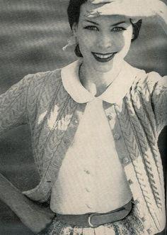 Vogue Knitting 1960 Wishbone Cable Stitch Cardigan Vintage Knitting Pattern Retro Mod Mad Men by vintagemadamedefarge on Etsy https://www.etsy.com/listing/68020613/vogue-knitting-1960-wishbone-cable