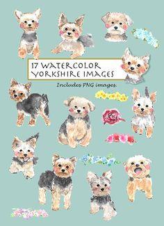 CLIP ART Watercolor Yorkshire Terrier Set. 17 Images. by Vianneart