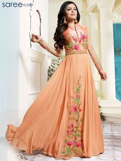 PEACH GEORGETTE FLOOR LENGTH ANARKALI SUIT WITH EMBROIDERY WORK