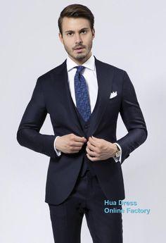 2015 Top Selling Most Popular Groom Tuxedos New Blue Peaked Lapel Bestman Suit BestMen Wedding Dress Jacket+Pants+Vest+Tie #W011402, $68.07 | DHgate.com