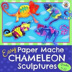 Dazzling Paper Mache Chameleon Sculptures- Art of Mexico 2019 Fun and easy sculpture lesson boys and girls enjoy!teacherspayte The post Dazzling Paper Mache Chameleon Sculptures- Art of Mexico 2019 appeared first on Paper ideas. Paper Mache Projects, Cool Art Projects, Projects For Kids, Project Ideas, Fair Projects, Kids Crafts, Sculpture Lessons, Sculpture Art, Sculptures