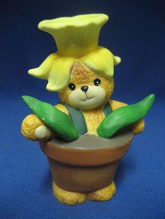 Lucy and Me Daffodil Flower Teddy Bear Figurine - Enesco 1992