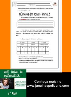 18 páginas de atividades sobre classe dos milhões, números ordinais e cardinais e quantificadores. Acesse: http://www.janainaspolidorio.com/mix-total-de-matematica-1-quinto-ano.html