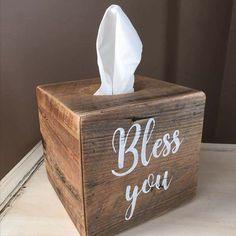 Bless you - farmhouse style tissue holder by @oakandelegance