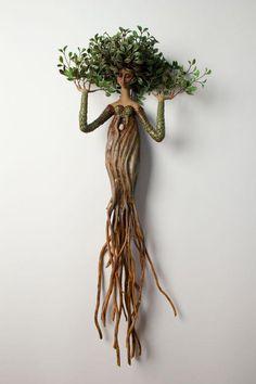 für den Garten im Freien - Jardin Miniature Idee - Best Pins Deco Nature, Driftwood Crafts, Tree Art, Clay Art, Garden Art, Garden Ideas, Art Dolls, Sculpting, Art Projects