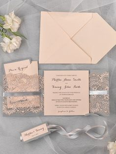 Peach and grey lace wedding invitation - see more at http://themerrybride.org/2014/09/07/beautiful-wedding-invitations-on-etsy-com/