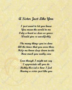 Sister Love Poem 8 X 10 Print | Etsy