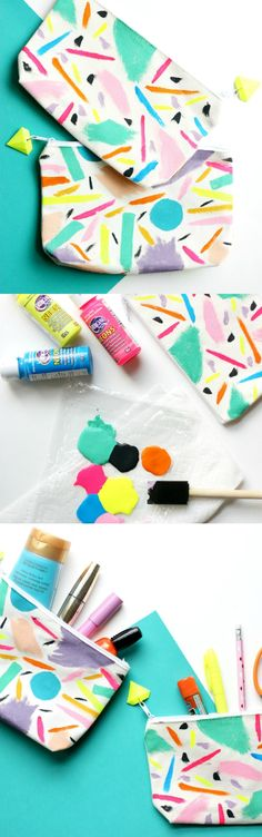 DIY Abstract Zipper Pouches | The Pretty Life Girls