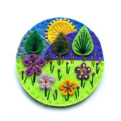 Treescape felt brooch with freeform embroidery by designedbyjane