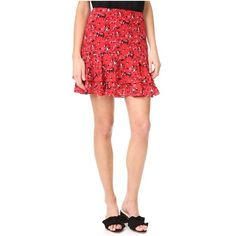 Grey Jason Wu Print Miniskirt (460 AUD) ❤ liked on Polyvore featuring skirts, mini skirts, cadmium red, print skirt, mini skirt, red skirt, patterned mini skirt and patterned skirts