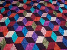 EXTRODINARY, Hand-made tumble block quilt., $455.0