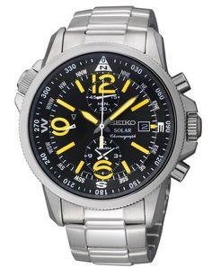 Montre Seiko Prospex Chronographe Solar SSC093P1, bracelet acier.