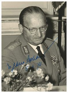 Hans Speidel (1897-1984) was a German World War II and postwar general. He was appalled by Nazi racial policies and was a key conspirator in the 1944 plot to kill Hitler. He was the only one of the inner circle not to die by execution or suicide. He was involved in the development and creation of the postwar Bundeswehr, and was named Commander-in-Chief of NATO ground forces in Central Europe in 1957, a command he held until his retirement in 1963. This image is dated 1972, but was taken in…