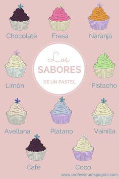 Los sabores de un pastel en español.