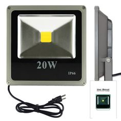 20W Ultra Thin High Quality White Waterproof IP66 LED FloodLight for Outdoor Hotel Garden with US 3-Plug
