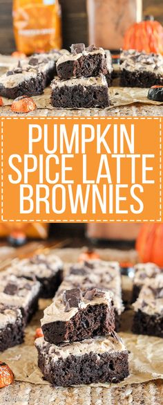 These Pumpkin Spice Latte Brownies are homemade pumpkin brownies infused with coffee and topped with a whipped pumpkin spice latte frosting.