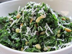 kale salad recipe, chopped with pine nuts