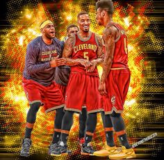 Best four on the Cavaliers: Lebron, Kyrie, J., and Iman King Lebron James, King James, Basketball Leagues, Basketball Players, Cleveland Cavs, Cleveland House, Cleveland Rocks, Cavs Championship, Sports Art
