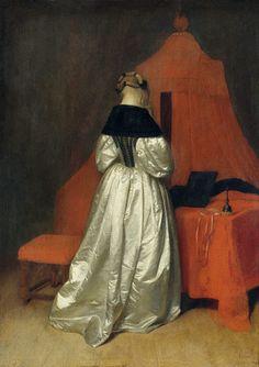 Image: Gerard ter Borch or Terborch - Eine Dame in weissem Atlas vor dem Bett mit roten Vorhaengen