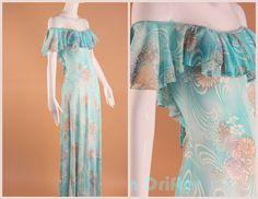 Vintage 60s Turquoise Boho Floral Off Shoulder by AmericanDrifter